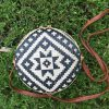 Round rattan purse black n white (3)