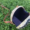 Round rattan purse black n white (6)